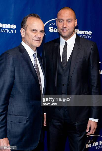 Joe Torre and Derek Jeter attend the 11th Anniversary Joe Torre Safe At Home Foundation Gala at Pier Sixty at Chelsea Piers on November 14 2013 in...