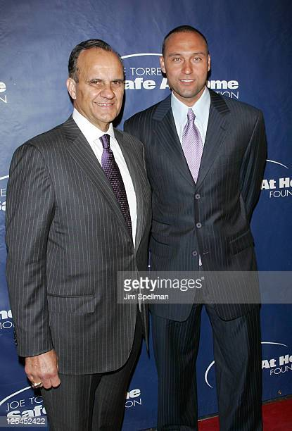 Joe Torre and Derek Jeter attend the 8th annual Joe Torre Safe at Home Foundation gala at Pier Sixty at Chelsea Piers on November 11 2010 in New York...