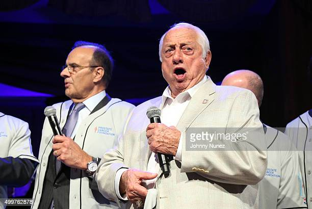 Joe Torre and Tommy Lasorda attend the 2015 Prostate Cancer Foundation benefit dinner at The Pierre Hotel on December 2 2015 in New York City