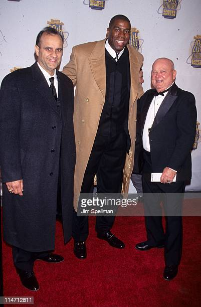 Joe Torre Magic Johnson and Dan Zimmer during Sports Illustrated 20th Century Sports Awards at Madison Square Garden in New York City NY United States