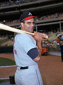Joe Torre of the Atlanta Braves poses for an action portrait Torre played for the Braves from 196668