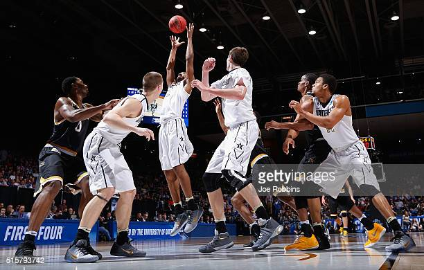 Joe Toye of the Vanderbilt Commodores goes up for a rebound in the first half against the Wichita State Shockers during the first round of the 2016...