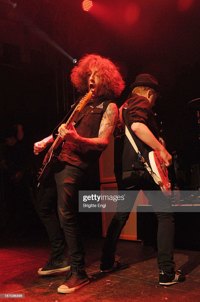 Joe Trohman and Patrick Stump of Fall Out Boy performs on stage at O2 Islington Academy on November 5, 2013 in London, United Kingdom.