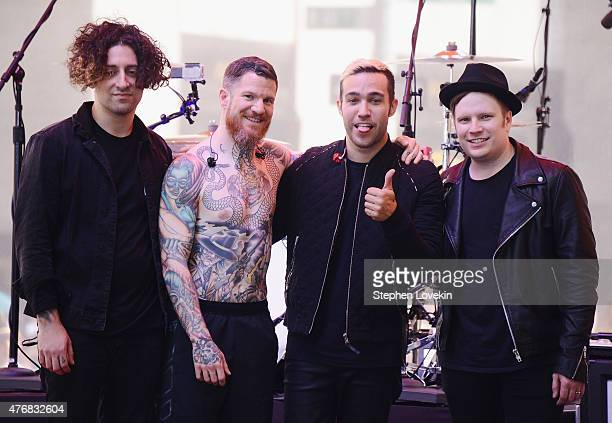 Joe Trohman Andy Hurley Pete Wentz and Patrick Stump of Fall Out Boy pose for a photo after performing on 'Today' at the NBC's TODAY Show on June 12...