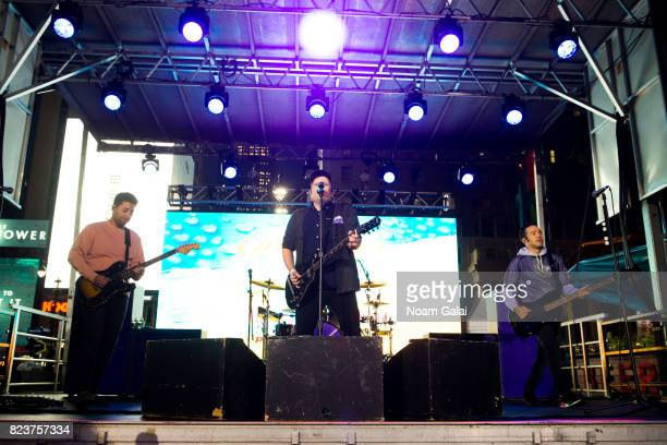 Joe Trohman Patrick Stump and Pete Wentz of Fall Out Boy perform at Elvis Duran's 2017 Summer Bash at the Pennsy Plaza on July 27 2017 in New York...