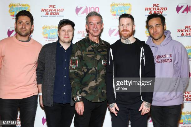 Joe Trohman Patrick Stump Andy Hurley and Pete Wentz of Fall Out Boy and Elvis Duran attend Elvis Duran's 2017 Summer Bash at the Pennsy Plaza on...