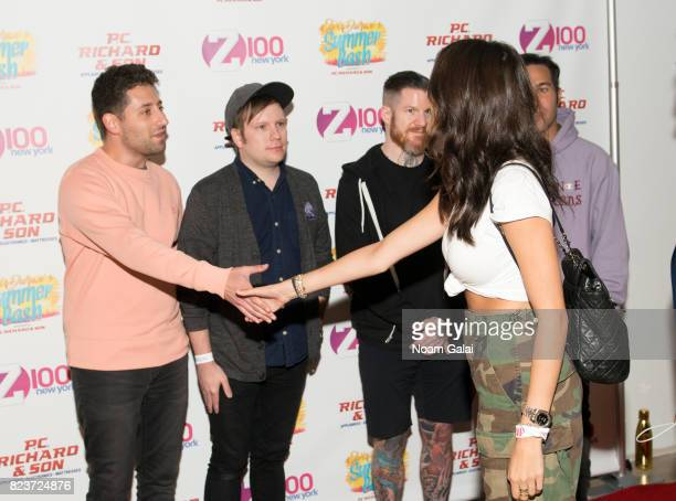 Joe Trohman Patrick Stump Andy Hurley and Pete Wentz of Fall Out Boy meet Madison Beer at Elvis Duran's 2017 Summer Bash at the Pennsy Plaza on July...