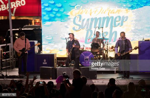 Joe Trohman Patrick Stump Andy Hurley and Pete Wentz of Fall Out Boy perform at Elvis Duran's 2017 Summer Bash at the Pennsy Plaza on July 27 2017 in...