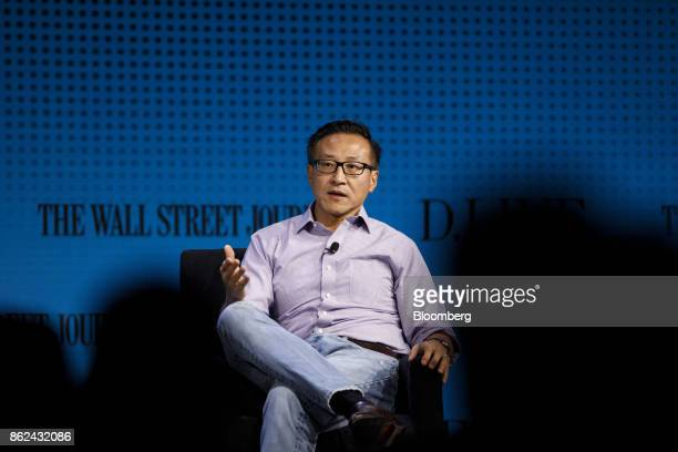 Joe Tsai covice chairman of Alibaba Group Holding Ltd speaks during the Wall Street Journal DLive global technology conference in Laguna Beach...