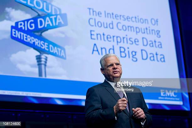 Joe Tucci chairman and chief executive officer of EMC Corp speaks during a media event in New York US on Tuesday Jan 18 2011 EMC today introduced...