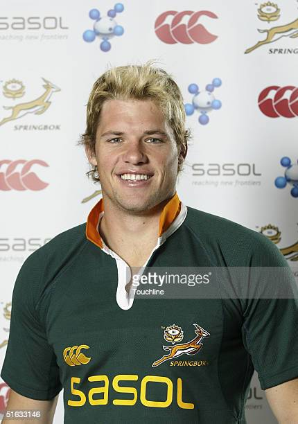 Joe van Niekerk is seen during a photo shoot for the South African rugby union squad with the new SASOL jersey at Newlands on September 28 2004 in...
