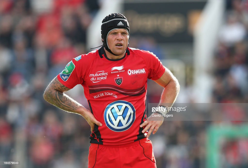 <a gi-track='captionPersonalityLinkClicked' href=/galleries/search?phrase=Joe+van+Niekerk&family=editorial&specificpeople=225015 ng-click='$event.stopPropagation()'>Joe van Niekerk</a> of Toulon looks on during the Heineken Cup Pool 2 match between Toulon and Glasgow Warriors at the Felix Mayol Stadium on October 13, 2013 in Toulon, France.