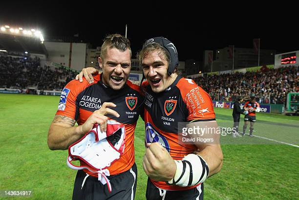 Joe van Niekerk the Toulon captain celebrates with team mate Pierrick Gunther after their victory during the Amlin Challenge Cup semi final match...