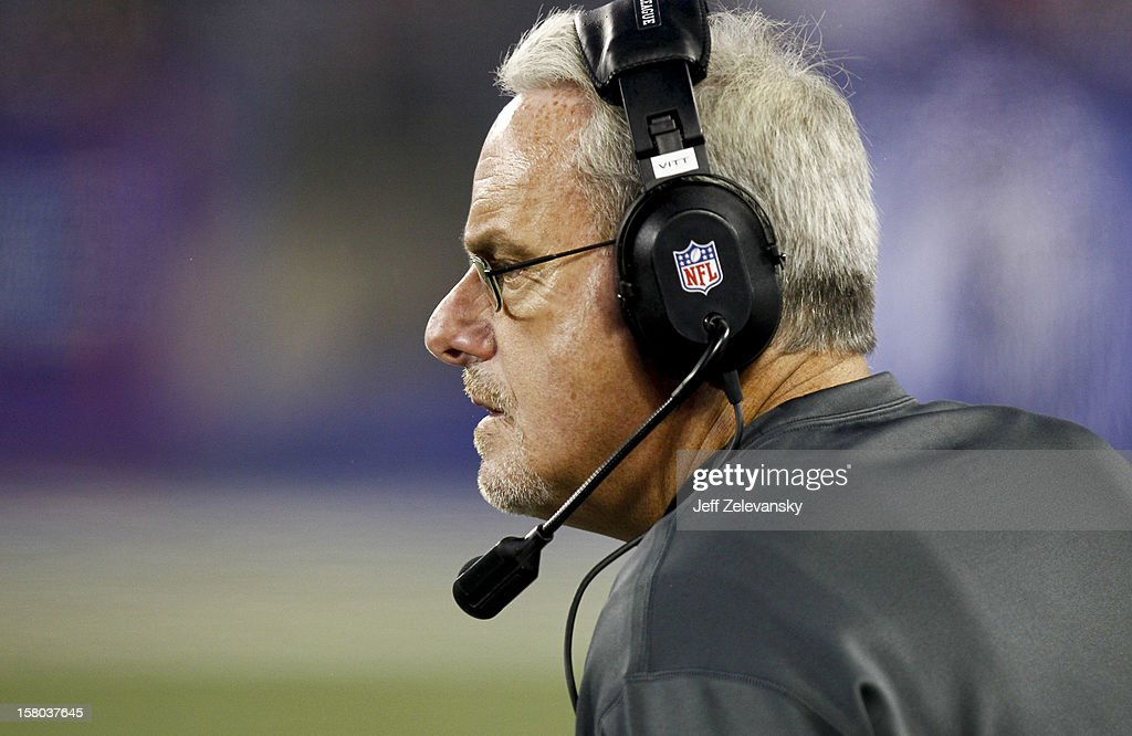 Joe Vitt, interim head coach of the New Orleans Saints stands on the sidelines during their game against the New York Giants at MetLife Stadium on December 9, 2012 in East Rutherford, New Jersey.