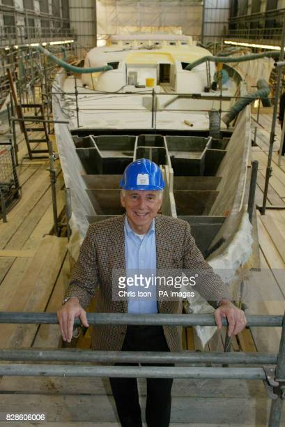 Joe Vittoria stands proudly in front of his new giant yacht the 75 metre Mirabella V as it sits in the construction shed at the Vosper Thornycroft...