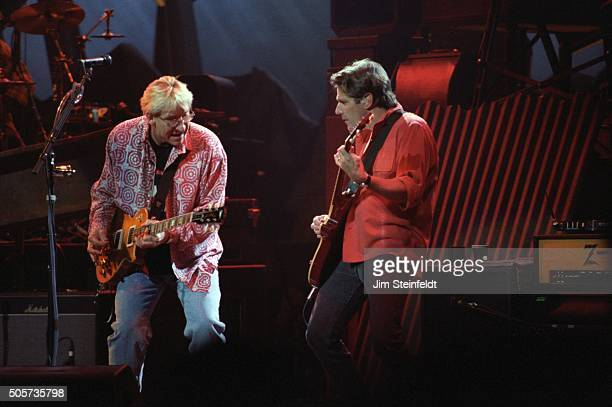 Joe Walsh and Glenn Frey of the Eagles perform at the Target Center in Minneapolis Minnesota on February 22 1995
