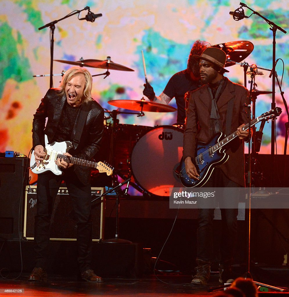 Joe Walsh, Dave Grohl and Gary Clark Jr. perform onstage at 'The Night That Changed America: A GRAMMY Salute To The Beatles' at Los Angeles Convention Center on January 27, 2014 in Los Angeles, California.