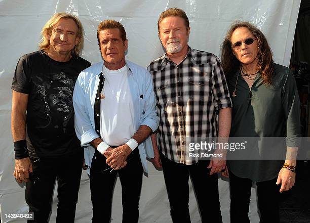 Joe Walsh Glenn Frey Don Henley and Timothy B Schmit of the Eagles backstage during the 2012 New Orleans Jazz Heritage Festival Day 6 at the Fair...