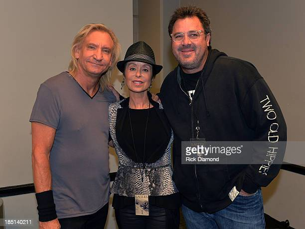 Joe Walsh of the Eagles Marjorie Walsh and Singer/Songwriter Vince Gill backstage before 'History Of The Eagles Live In Concert' at the Bridgestone...