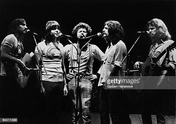 Joe Walsh Randy Meisner Don Henley Glenn Frey and Don Felder of The Eagles perform on stage at Ahoy on May 11th 1977 in Rotterdam Netherlands