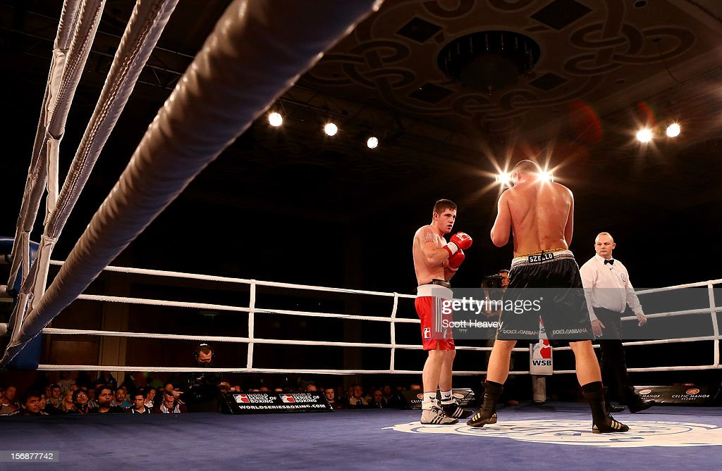 Joe Ward of British Lionhearts (L) in action with <a gi-track='captionPersonalityLinkClicked' href=/galleries/search?phrase=Imre+Szello&family=editorial&specificpeople=4208661 ng-click='$event.stopPropagation()'>Imre Szello</a> of Italia Thunder during their 80-85kg bout in the World Series of Boxing between British Lionhearts and Italia Thunder on November 23, 2012 in Newport, Wales.