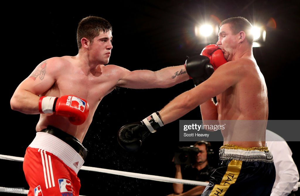 Joe Ward of British Lionhearts in action with Imre Szello of Italia Thunder during their 8085kg bout in the World Series of Boxing between British...