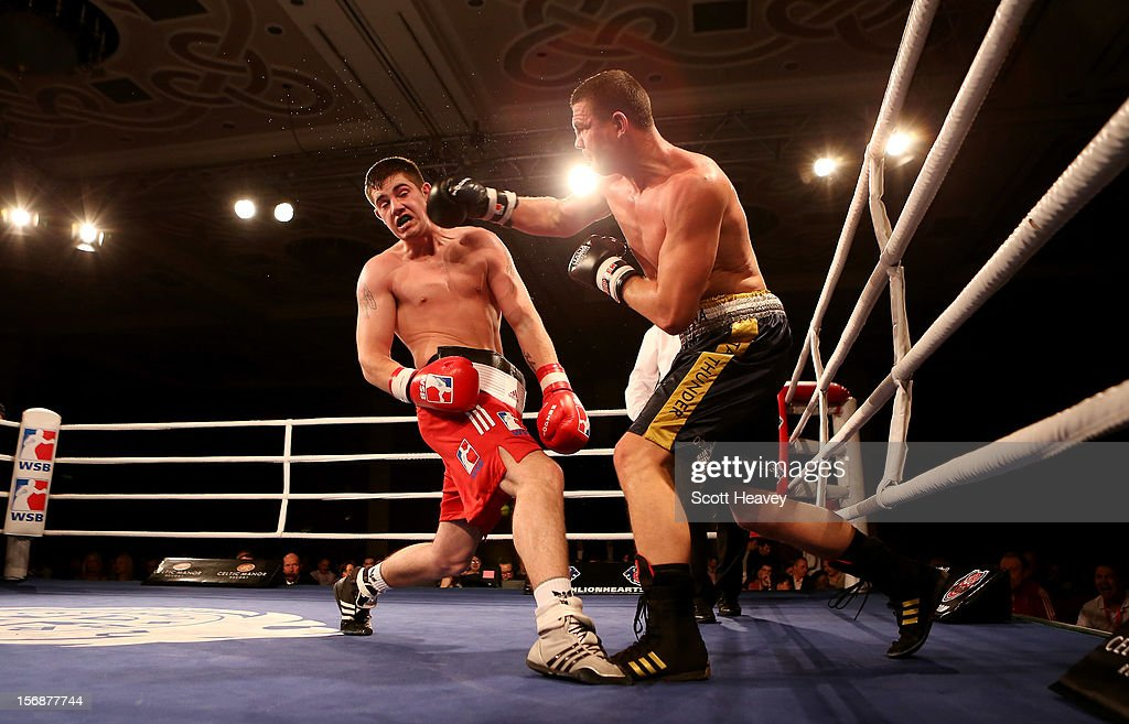 Joe Ward of British Lionhearts (L) in action with Imre Szello of Italia Thunder during their 80-85kg bout in the World Series of Boxing between British Lionhearts and Italia Thunder on November 23, 2012 in Newport, Wales.