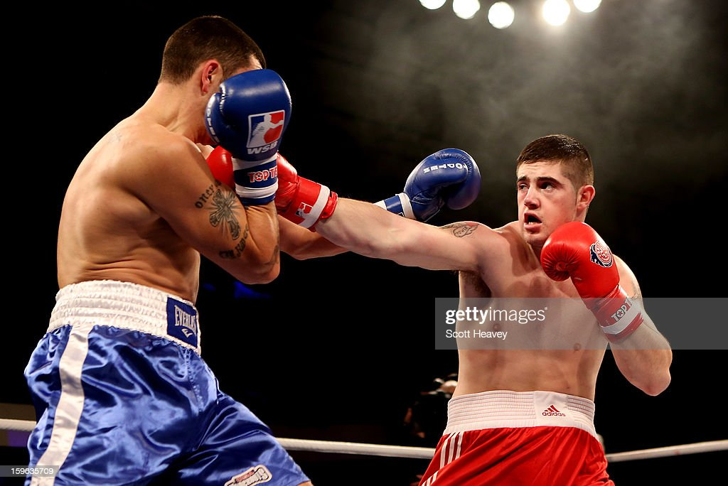 Joe Ward of British Lionhearts (R) in action with Marko Calic of USA Knockouts during their 80-85kg bout during the World Series of Boxing Match between British Lionhearts and USA Knockouts at York Hall on January 17, 2013 in London, England.