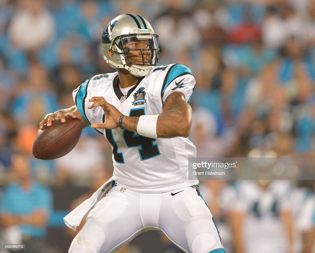 <a gi-track='captionPersonalityLinkClicked' href=/galleries/search?phrase=Joe+Webb&family=editorial&specificpeople=5222364 ng-click='$event.stopPropagation()'>Joe Webb</a> #14 of the Carolina Panthers during their game against the Buffalo Bills at Bank of America Stadium on August 8, 2014 in Charlotte, North Carolina. Buffalo won 20-18.