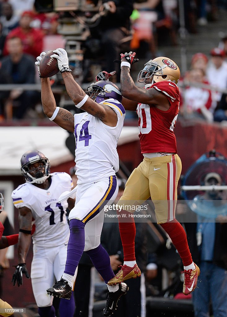 <a gi-track='captionPersonalityLinkClicked' href=/galleries/search?phrase=Joe+Webb&family=editorial&specificpeople=5222364 ng-click='$event.stopPropagation()'>Joe Webb</a> #14 of the Minnesota Vikings catches a three yard touchdown pass in front of <a gi-track='captionPersonalityLinkClicked' href=/galleries/search?phrase=Perrish+Cox&family=editorial&specificpeople=5008136 ng-click='$event.stopPropagation()'>Perrish Cox</a> #20 of the San Francisco 49ers in the third quarter at Candlestick Park on August 25, 2013 in San Francisco, California. The 49ers won the game 34-14.