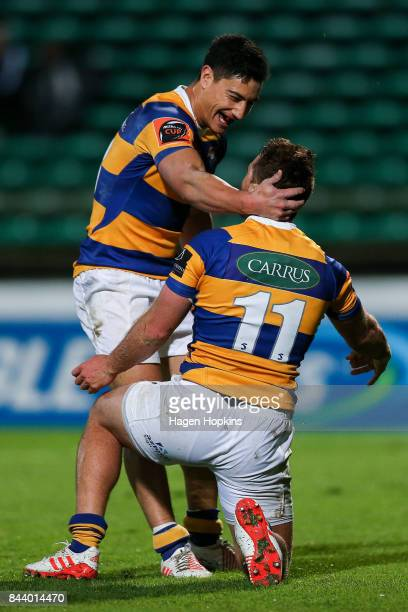 Joe Webber of Bay of Plenty celebrates after scoring a try with Lalakai Foketi during the round four Mitre 10 Cup match between Manawatu and Bay of...