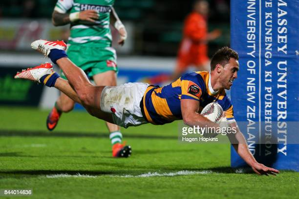 Joe Webber of Bay of Plenty scores a try during the round four Mitre 10 Cup match between Manawatu and Bay of Plenty at Central Energy Trust Arena on...