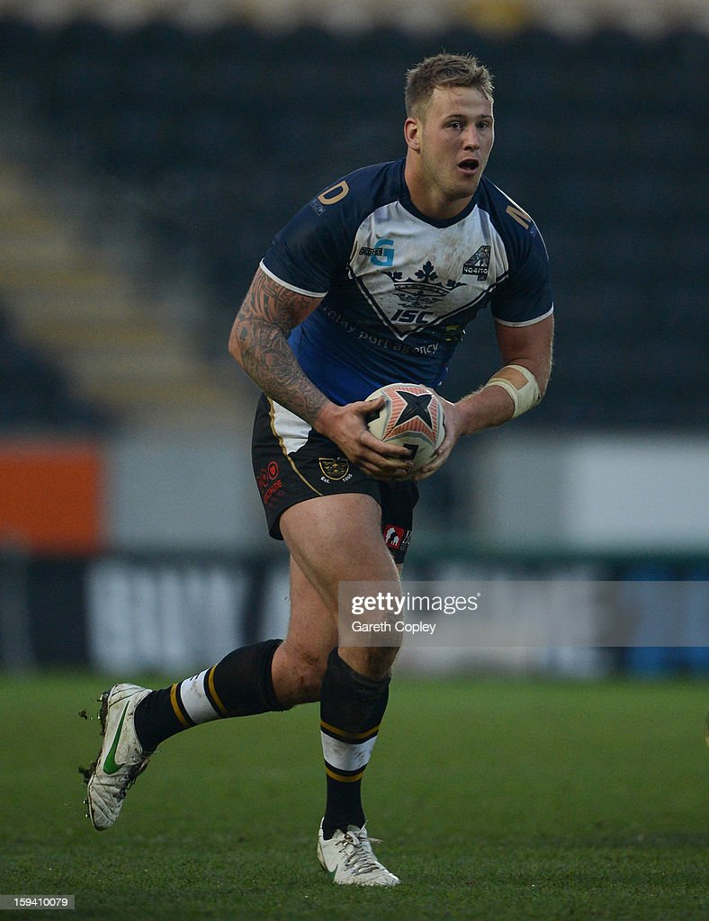 Joe Westerman of Hull FC in action during a pre-season friendly match between Hull FC and Castleford Tigers at The KC Stadium on January 13, 2013 in Hull, England.
