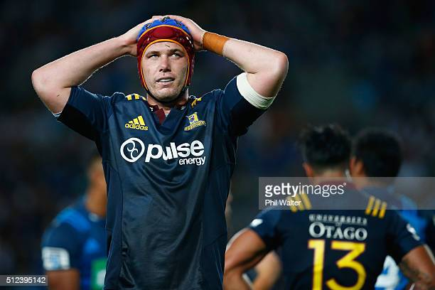 Joe Wheeler of the Highanders looks dejected during the round one Super Rugby match between the Blues and the Highlanders at Eden Park on February 26...