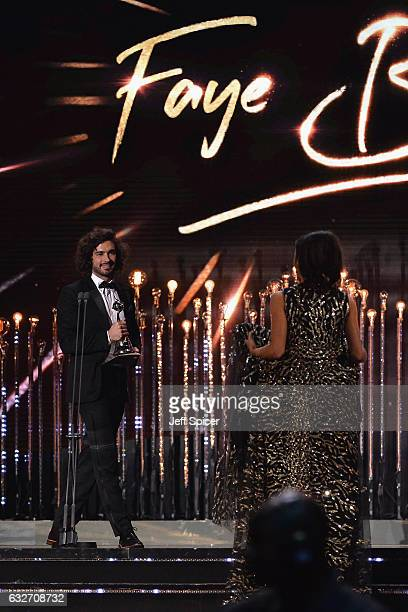 Joe Wicks presents Faye Brookes with the Best Newcomer award during the National Television Awards at The O2 Arena on January 25 2017 in London...