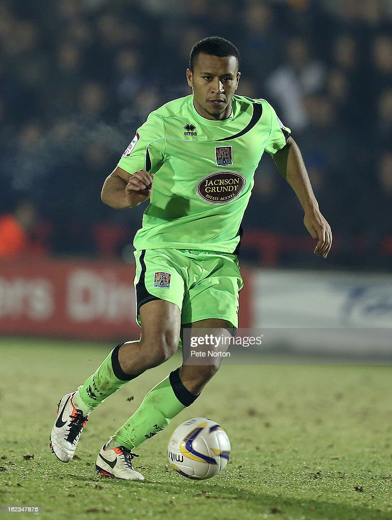Joe Widdowson of Northampton Town in action during the npower League Two match between AFC Wimbledon and Northampton Town at The Cherry Red Records Stadium on February 19, 2013 in Kingston upon Thames, England.