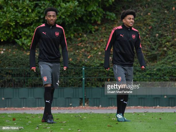 Joe Willock and Reiss Nelson of Arsenal before a training session at London Colney on November 1 2017 in St Albans England