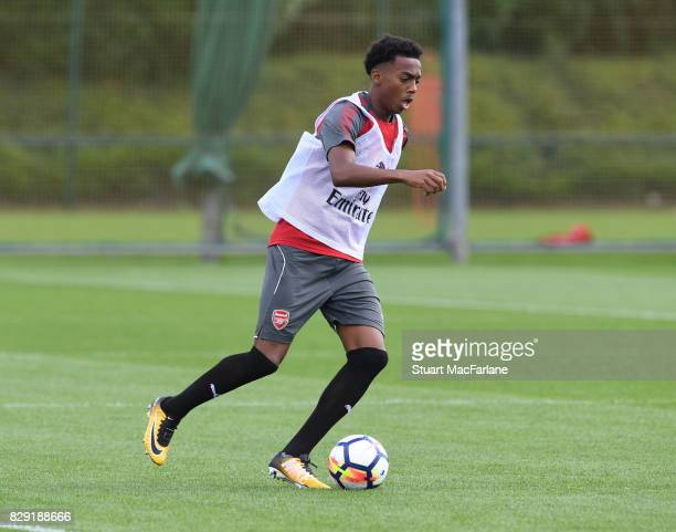 Joe Willock of Arsenal during a training session at London Colney on August 10 2017 in St Albans England