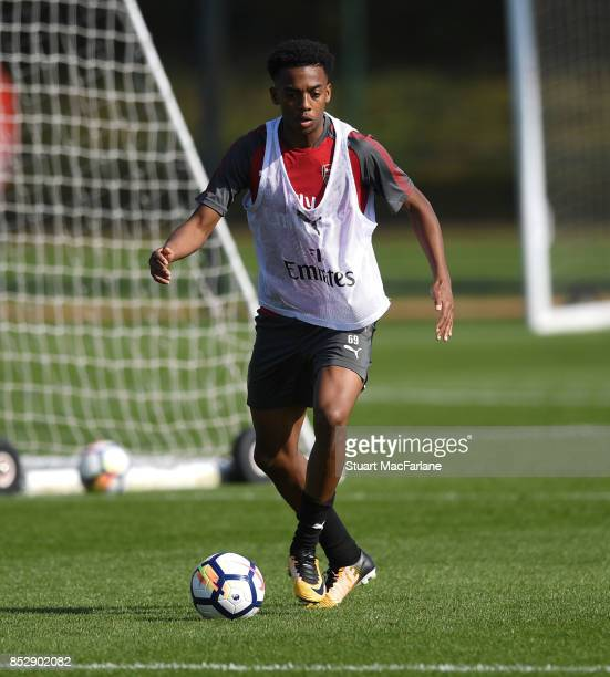 Joe Willock of Arsenal during a training session at London Colney on September 24 2017 in St Albans England