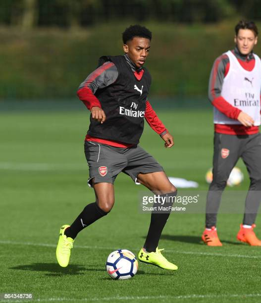 Joe Willock of Arsenal during a training session at London Colney on October 21 2017 in St Albans England