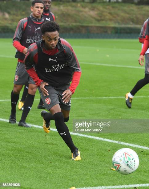 Joe Willock of Arsenal during a training session at London Colney on October 23 2017 in St Albans England