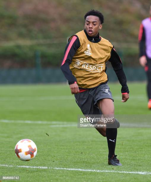 Joe Willock of Arsenal during a training session at London Colney on November 1 2017 in St Albans England