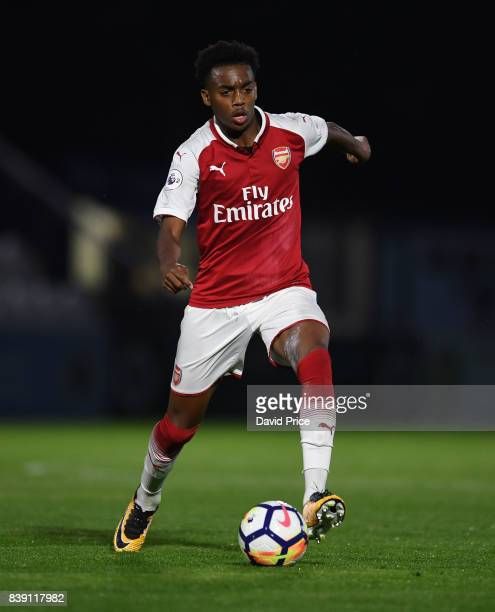 Joe Willock of Arsenal during the match between Arsenal and Liverpool at Meadow Park on August 25 2017 in Borehamwood England