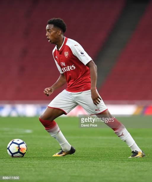 Joe Willock of Arsenal during the match between Arsenal U23 and Manchester City U23 at Emirates Stadium on August 21 2017 in London England