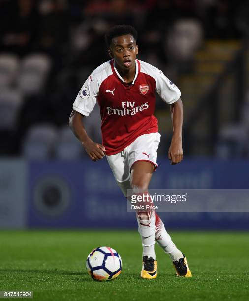 Joe Willock of Arsenal during the match between Arsenal U23 and Leicester City U23 at Meadow Park on September 15 2017 in Borehamwood England