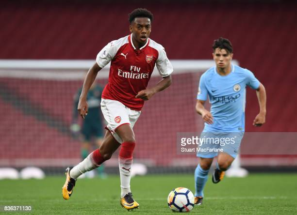 Joe Willock of Arsenal during the Premier League 2 match between Arsenal and Manchester City at Emirates Stadium on August 21 2017 in London England
