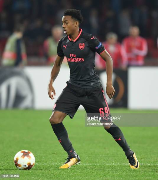 Joe Willock of Arsenal during the UEFA Europa League group H match between Crvena Zvezda and Arsenal FC at Rajko Mitic Stadium on October 19 2017 in...