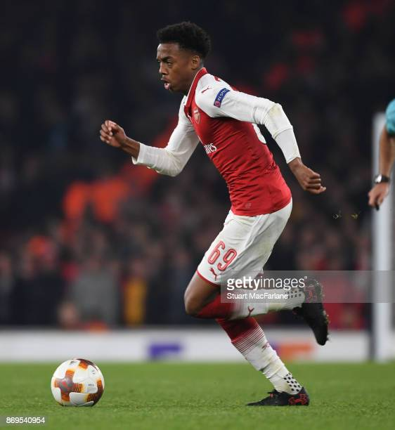 Joe Willock of Arsenal during the UEFA Europa League group H match between Arsenal FC and Crvena Zvezda at Emirates Stadium on November 2 2017 in...
