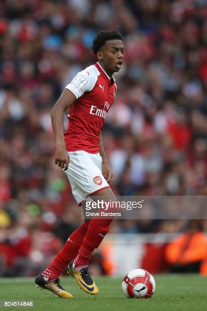 Joe Willock of Arsenal in action during the Emirates Cup match between Arsenal and Sevilla FC at Emirates Stadium on July 30 2017 in London England