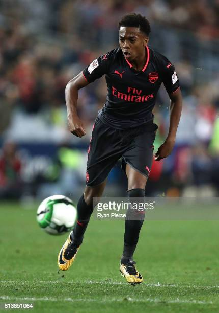 Joe Willock of Arsenal looks upfield during the match between Sydney FC and Arsenal FC at ANZ Stadium on July 13 2017 in Sydney Australia